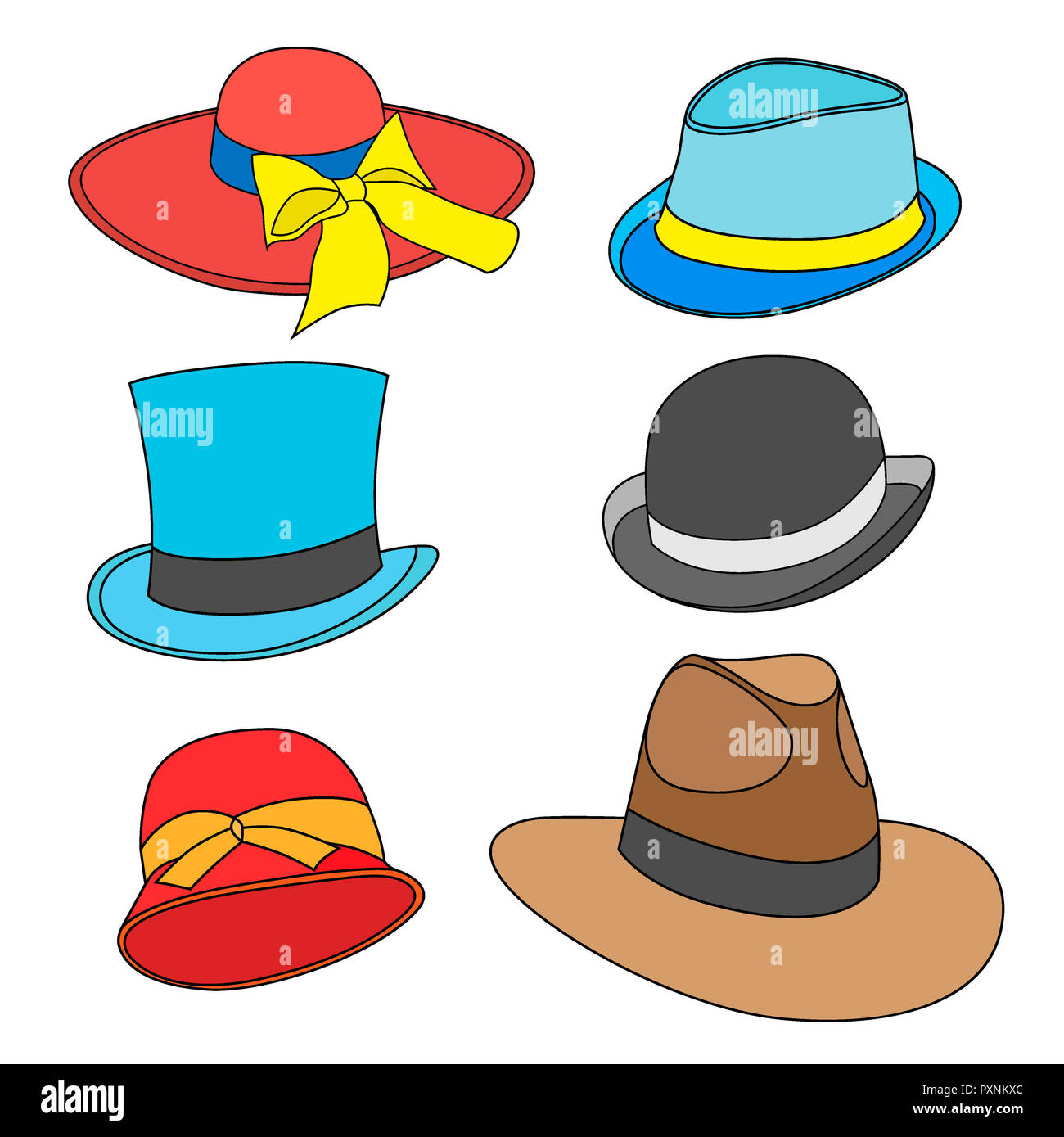 7ef5abb14792a set of Cartoon male and female hats of old models. Isolated on white ...