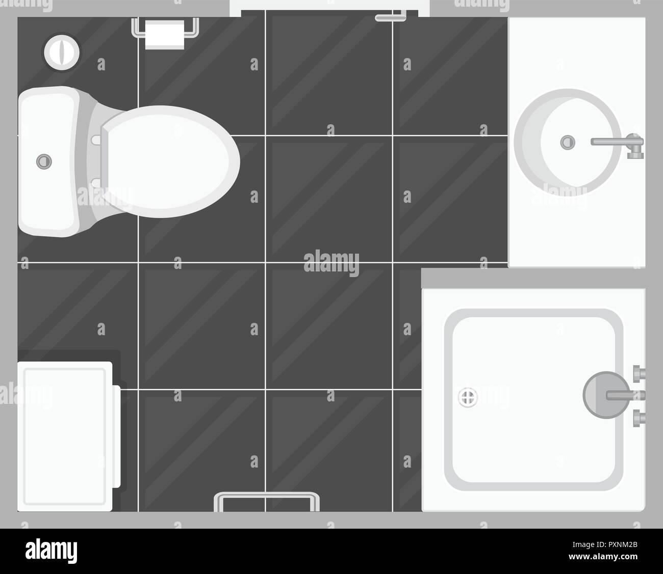 Bathroom Interior Top View Vector Illustration Floor Plan Of Toilet