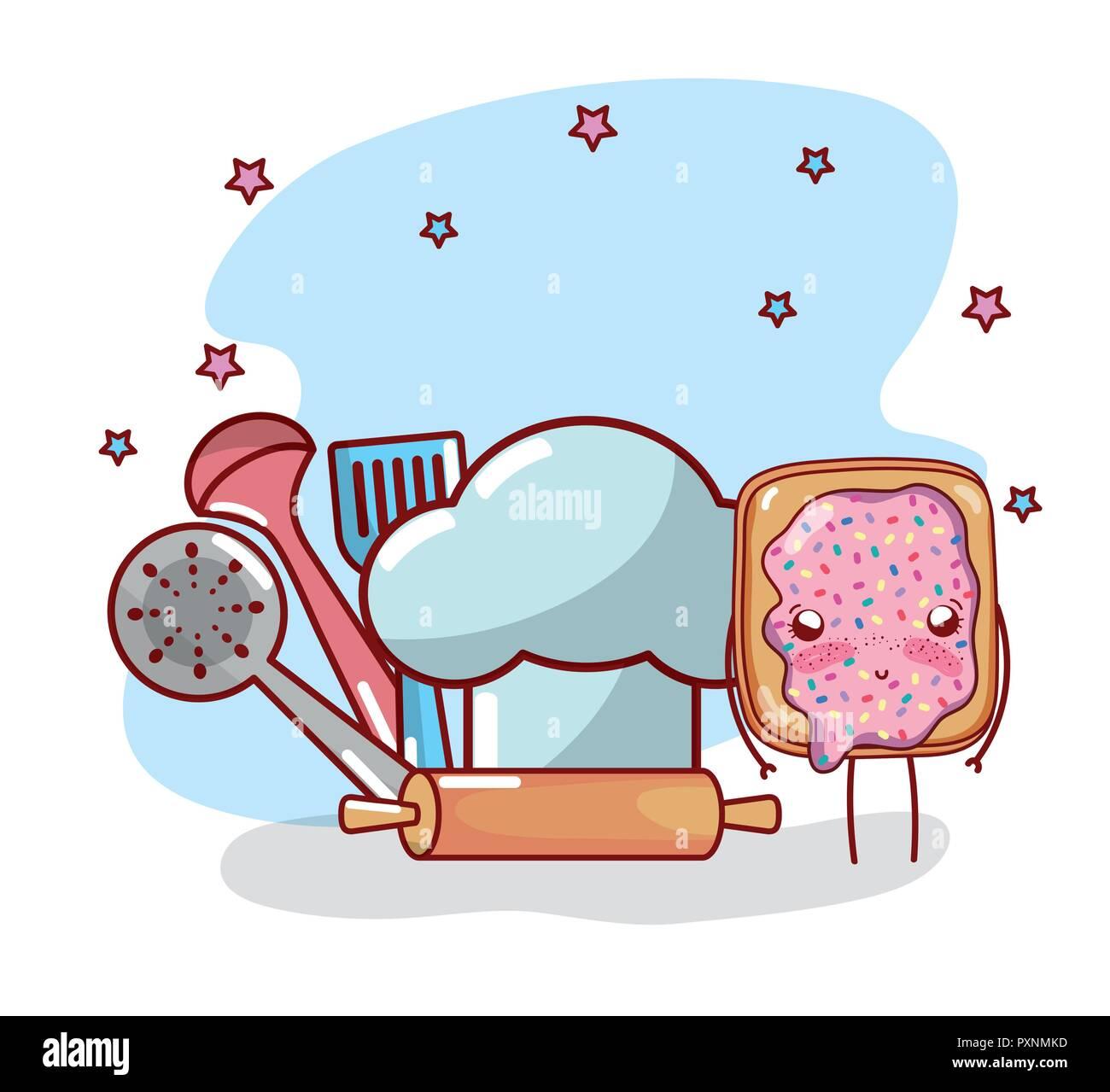 Kitchen Items Cartoon Kawaii Cartoon Stock Vector Image Art Alamy