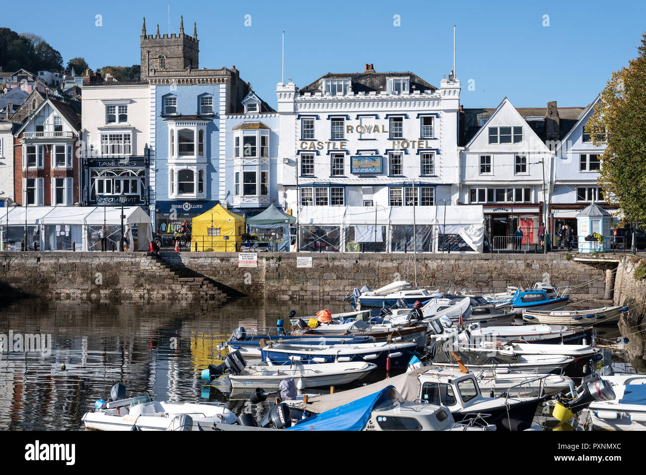 The Royal Castle Hotel overlooking the marina at Dartmouth, Devon, UK Stock Photo