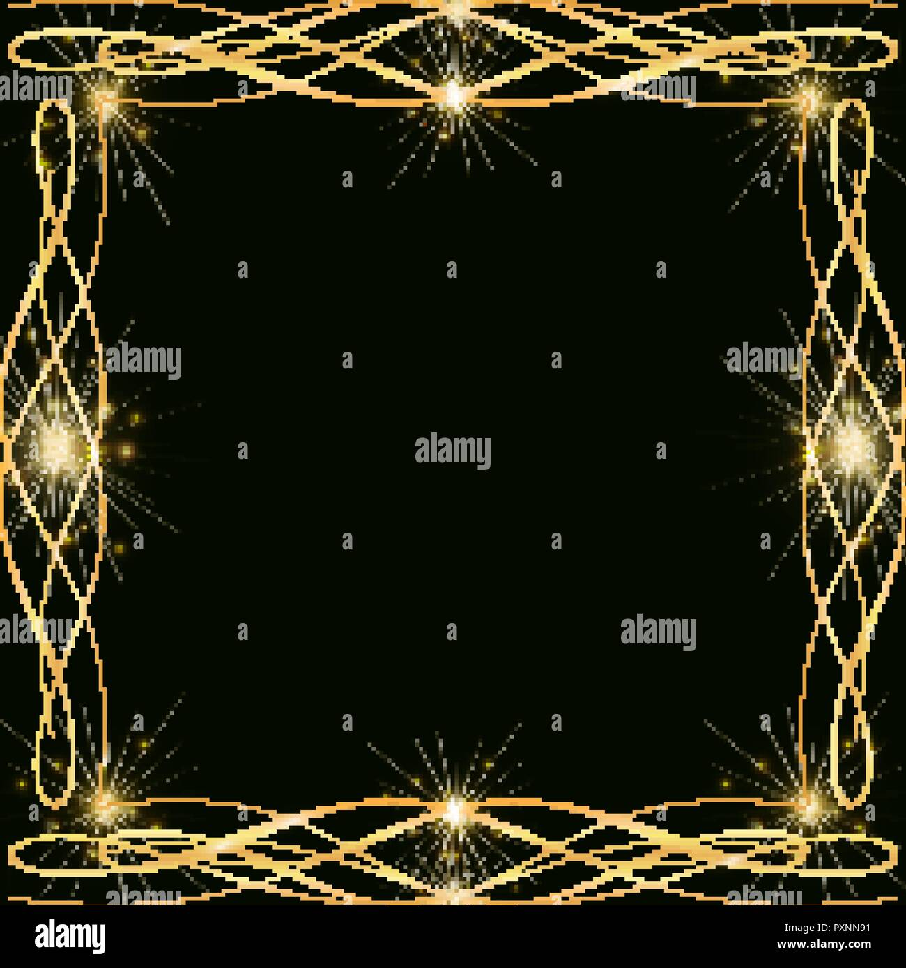 golden decoration frame with sparkles and highlights template for a christmas new year card golden borders in the shape of a square on a dark backr