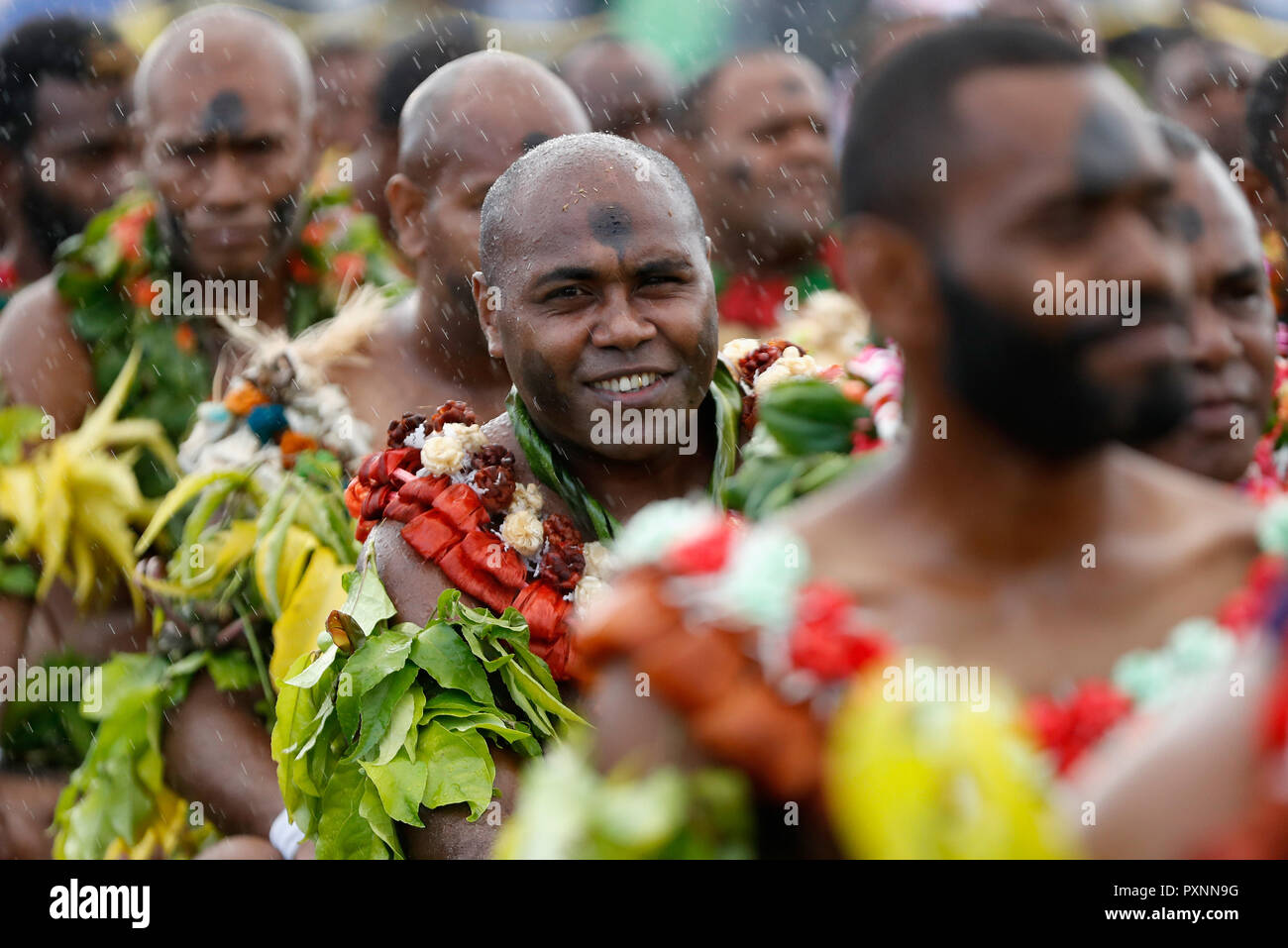 Fijian Men In Alberts Park Waiting The Arrival Of The Duke