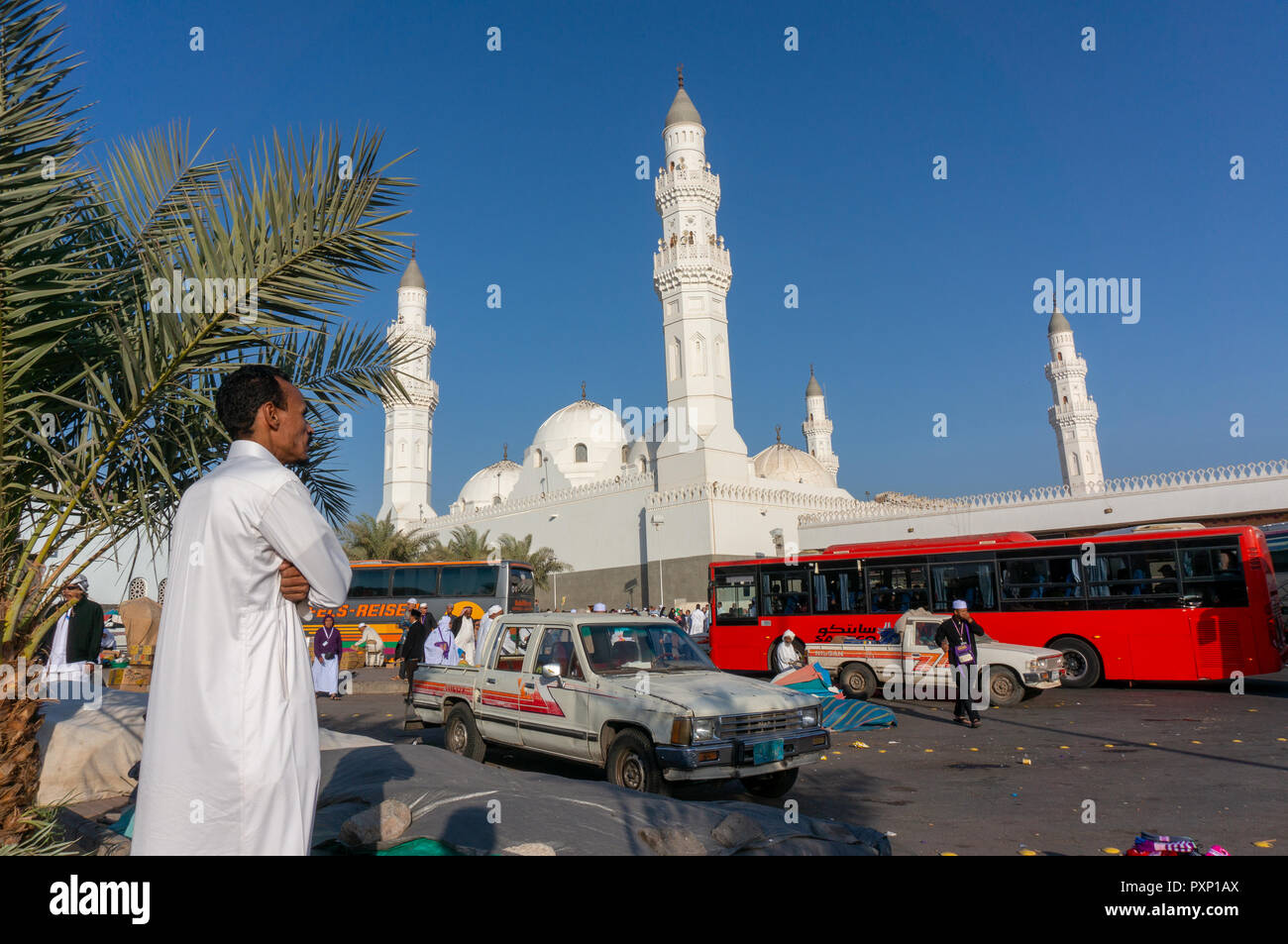 MEDINA, SAUDI ARABIA-CIRCA 2014 : Muslims at the compound of Masjid Quba in Medina, Saudi Arabia. This is the first mosque built by Prophet Muhammad ( - Stock Image