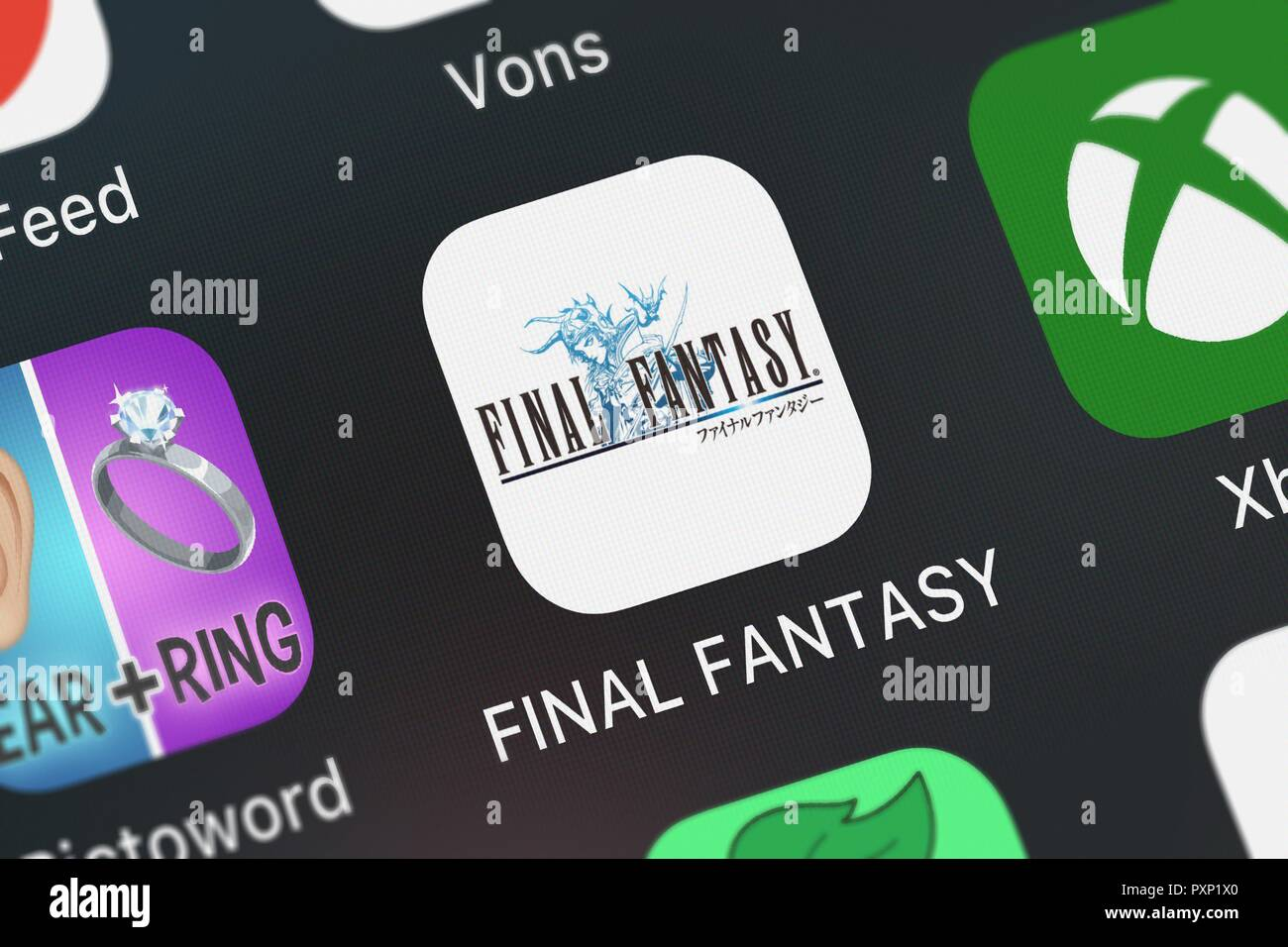 London, United Kingdom - October 23, 2018: Close-up shot of the FINAL FANTASY mobile app from SQUARE ENIX INC. - Stock Image