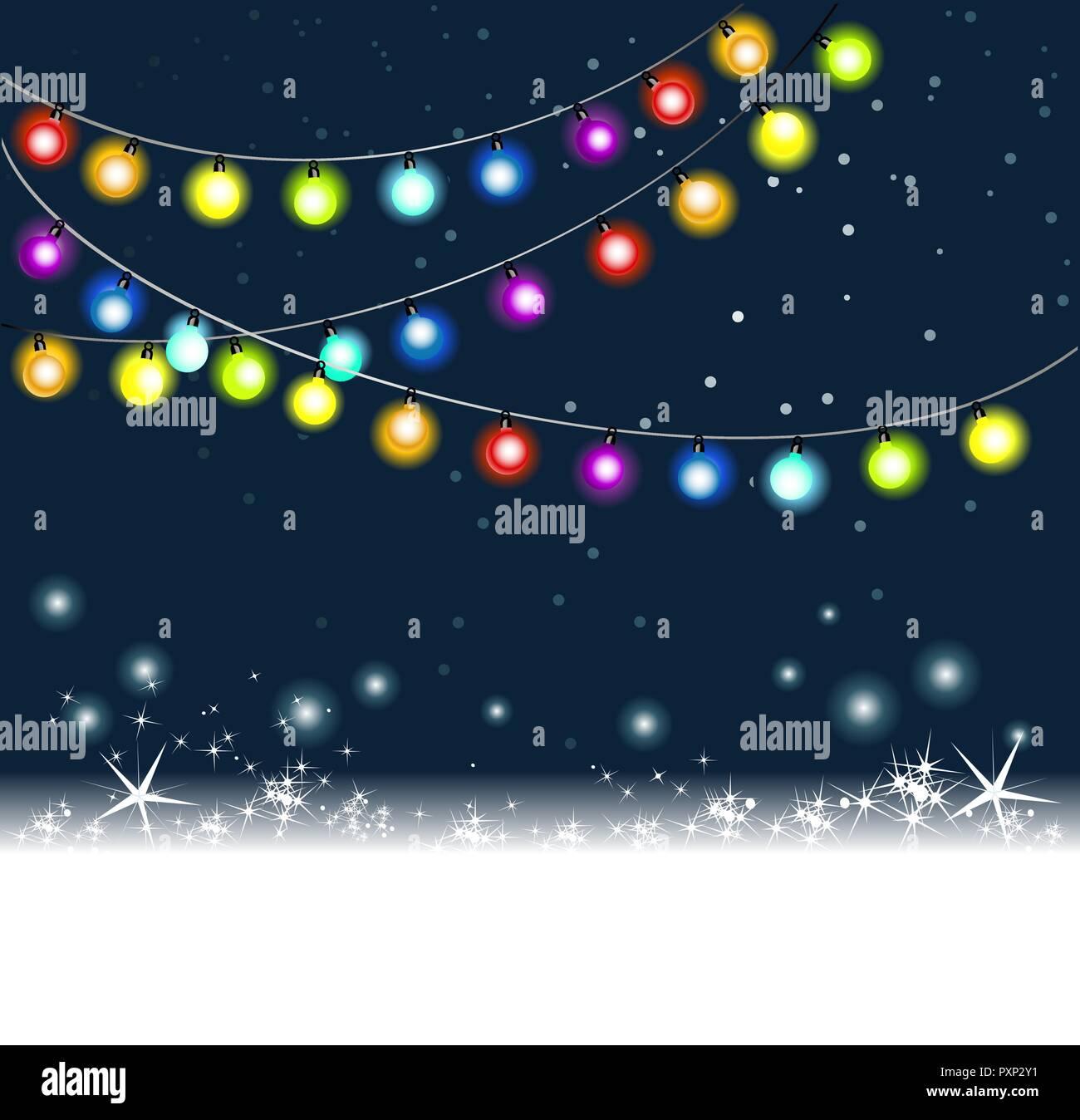 Christmas Background With Rainbow Christmas Tree Lights Stock Vector