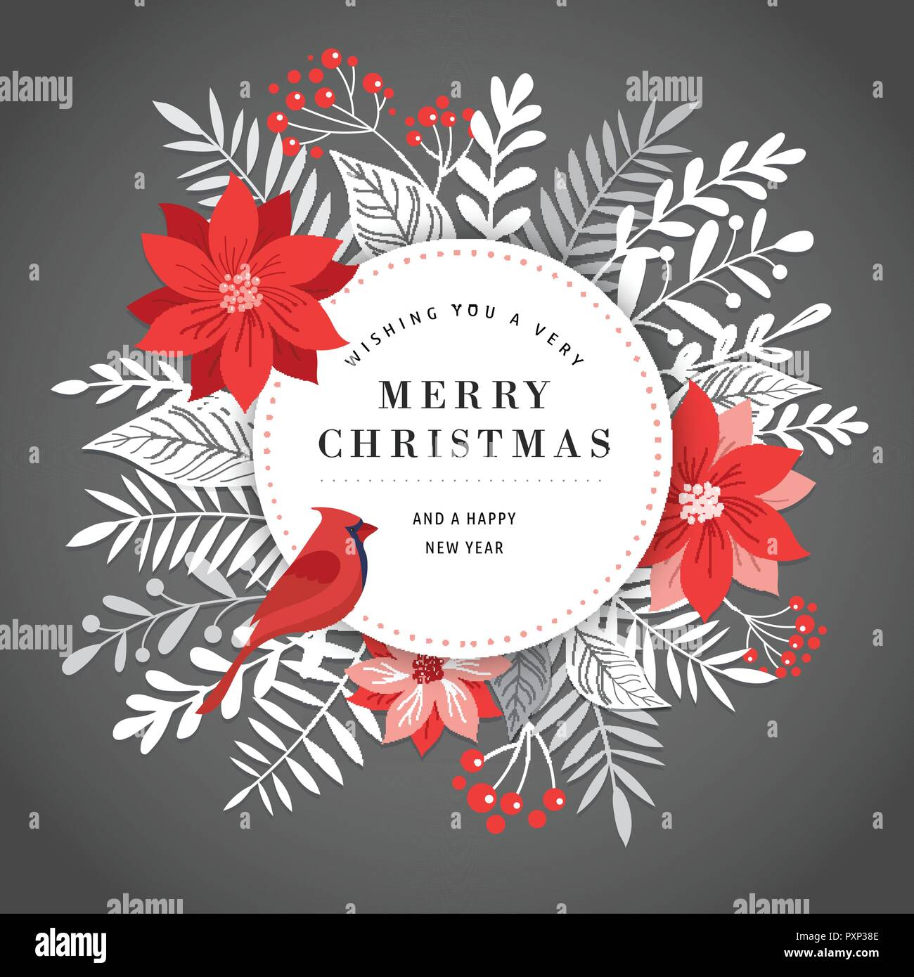merry christmas greeting card banner and background in elegant modern and classic style with leaves flowers and bird