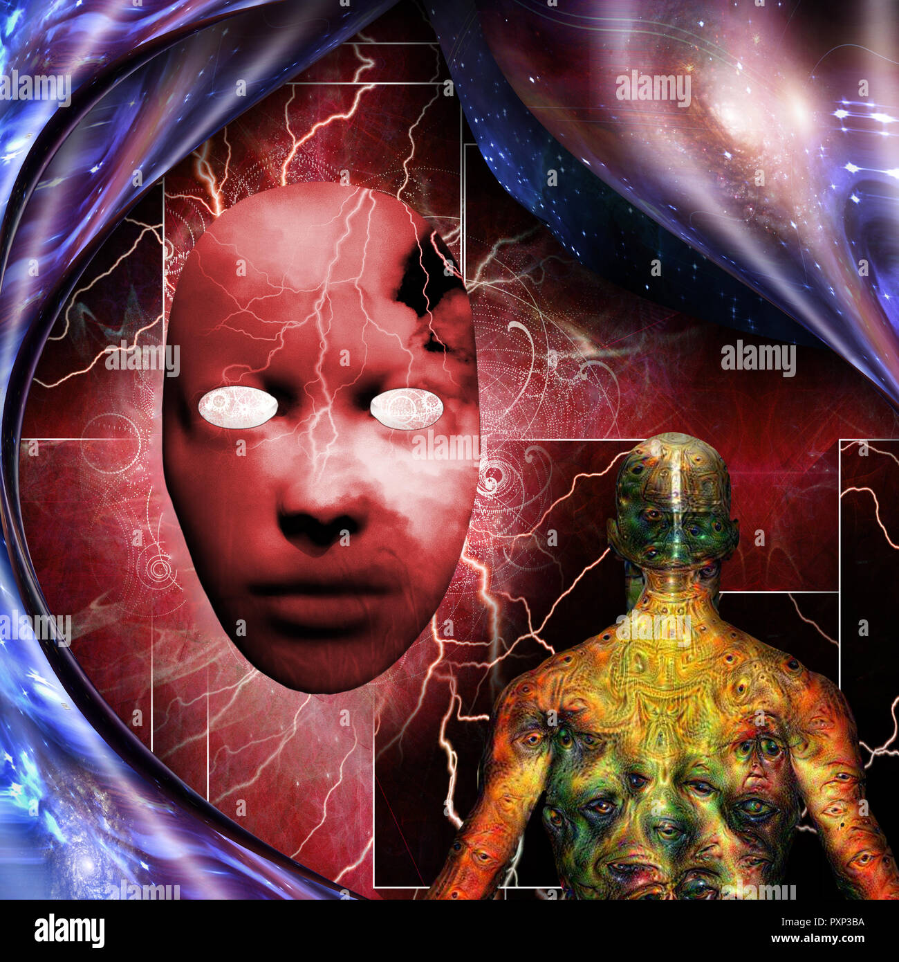 Surrealism. Mystic mask with lightnings. Man with weird demonic eyes on skin. Warped space. - Stock Image