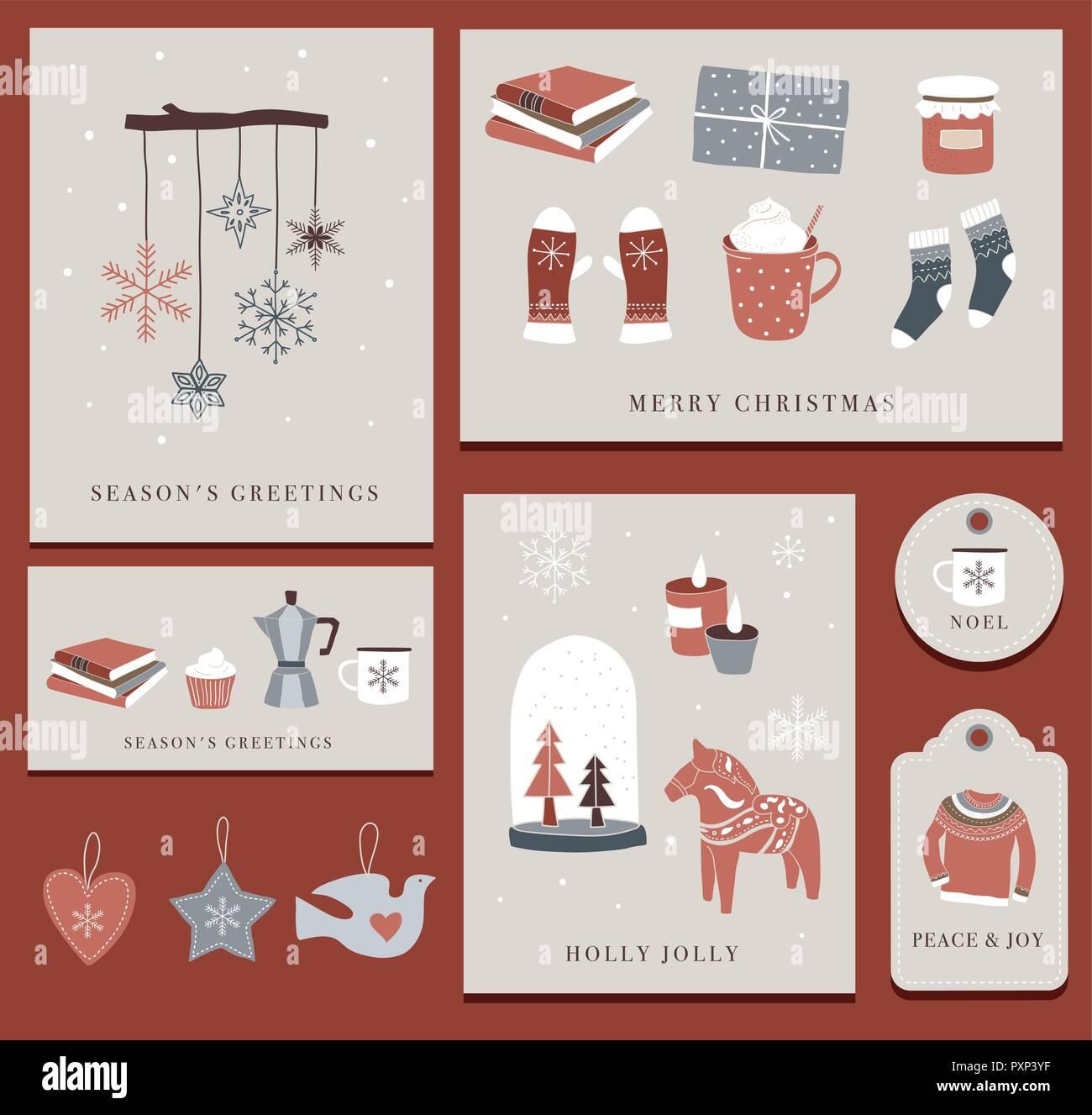 Nordic, Scandinavian winter elements and Hygge concept design, Merry ...