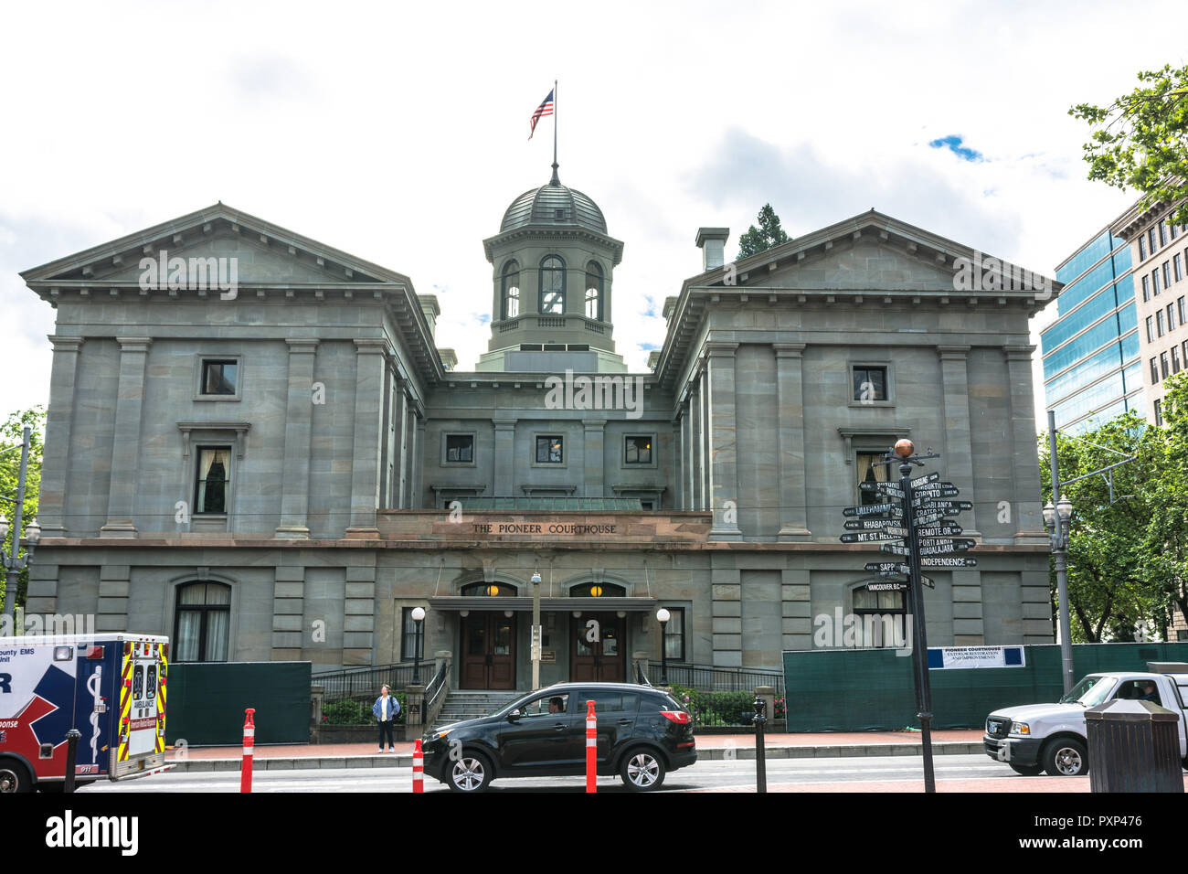 Portland,Oregon,USA - June 9, 2017 : View of the Pioneer Courthouse in Pioneer Courthouse Squaresymbol - Stock Image