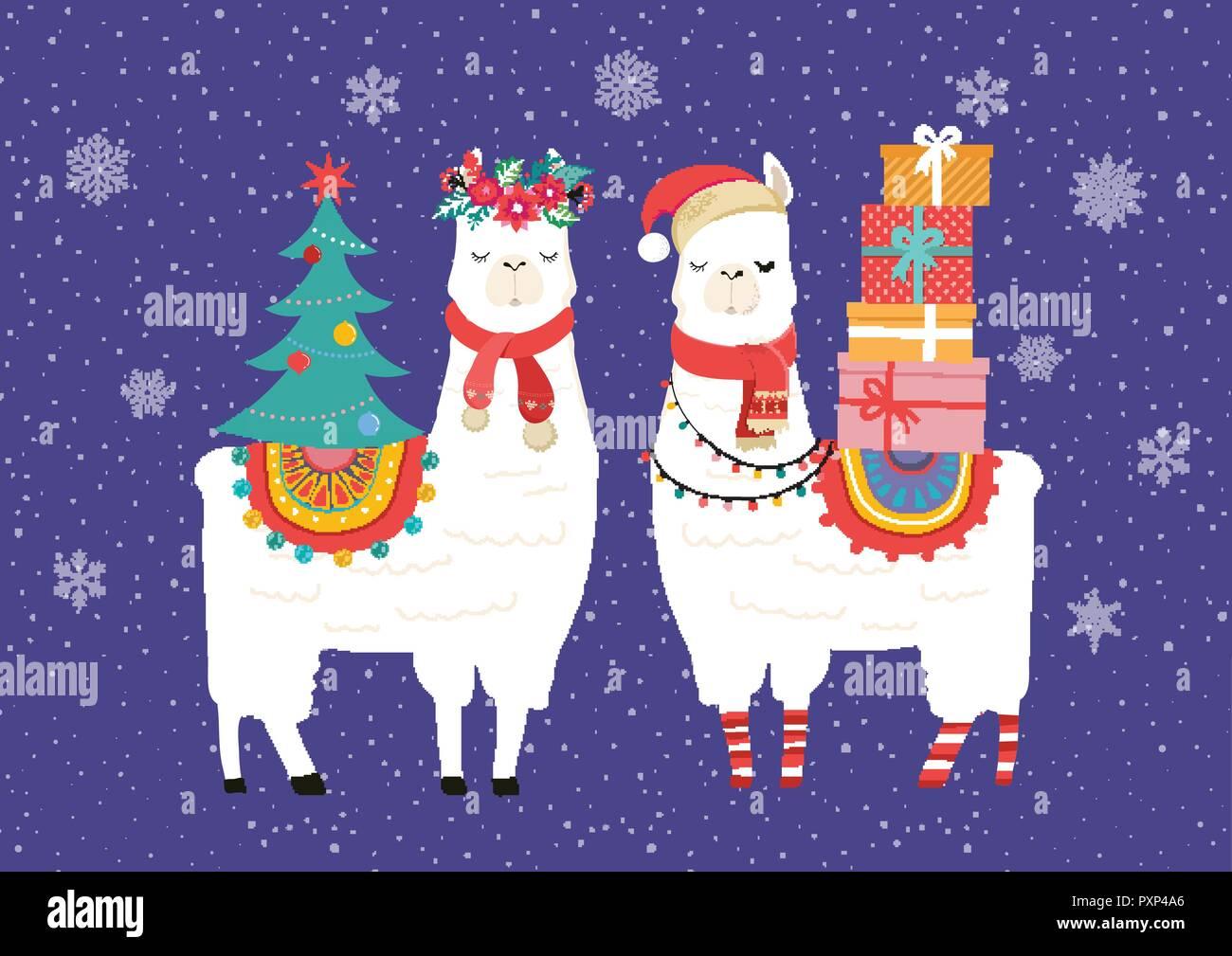 Christmas Birthday Images.Llama Winter Illustration Cute Design For Nursery Poster