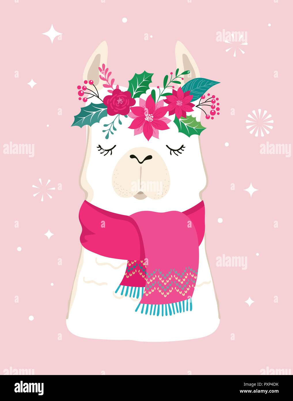 Llama Winter Illustration Cute Design For Nursery Poster Merry Christmas Birthday Greeting Card