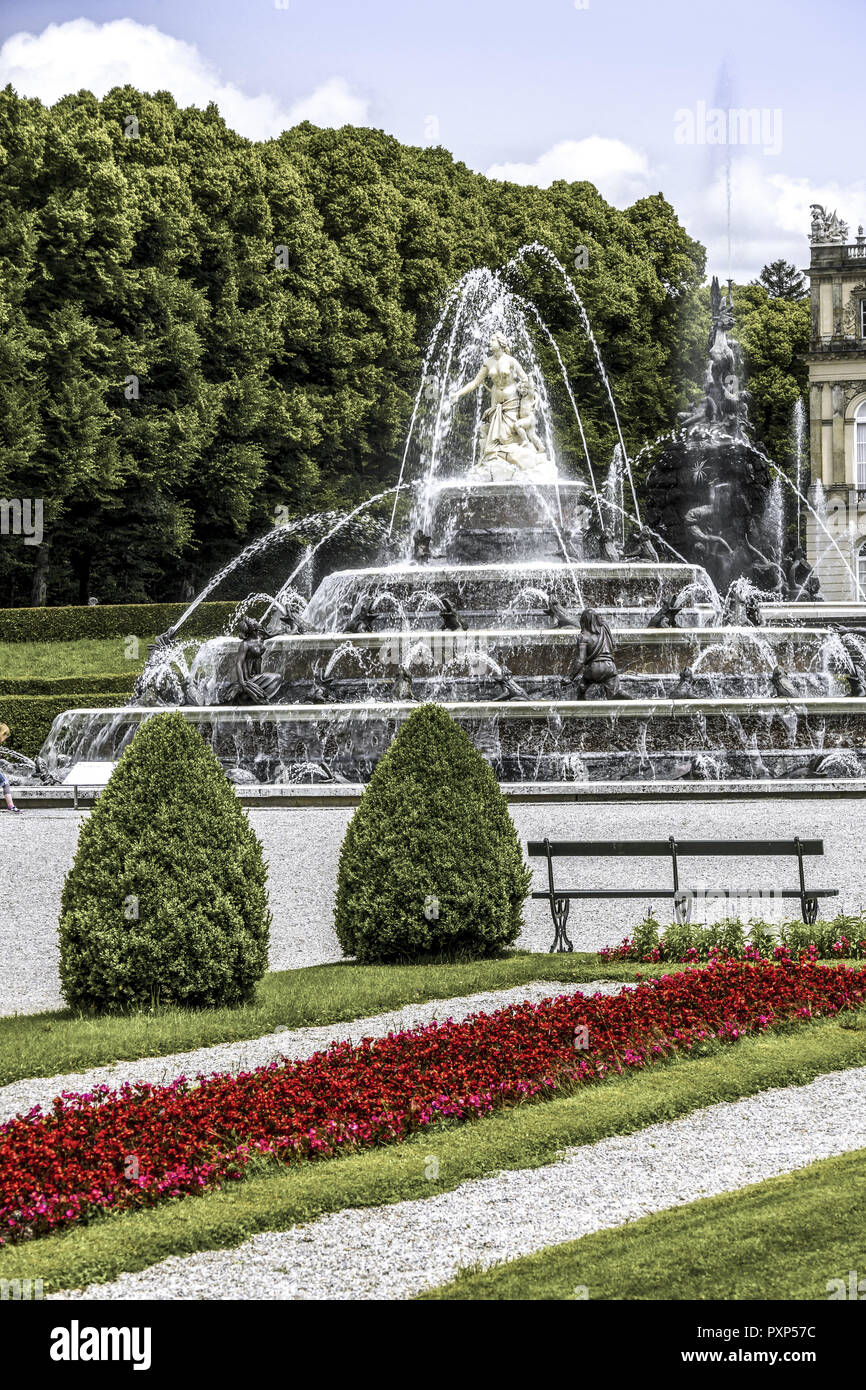 Latona Fountain, Herrenchiemsee Palace, Herreninsel, Gentleman s Island, Lake Chiemsee, Chiemgau, Upper Bavaria, Germany, Europe - Stock Image
