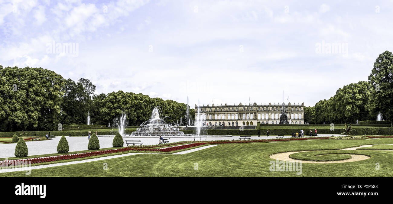 Herrenchiemsee Palace, palace gardens, Herreninsel, Chiemsee, Chiemgau, Upper Bavaria, Bavaria, Germany, Europe - Stock Image