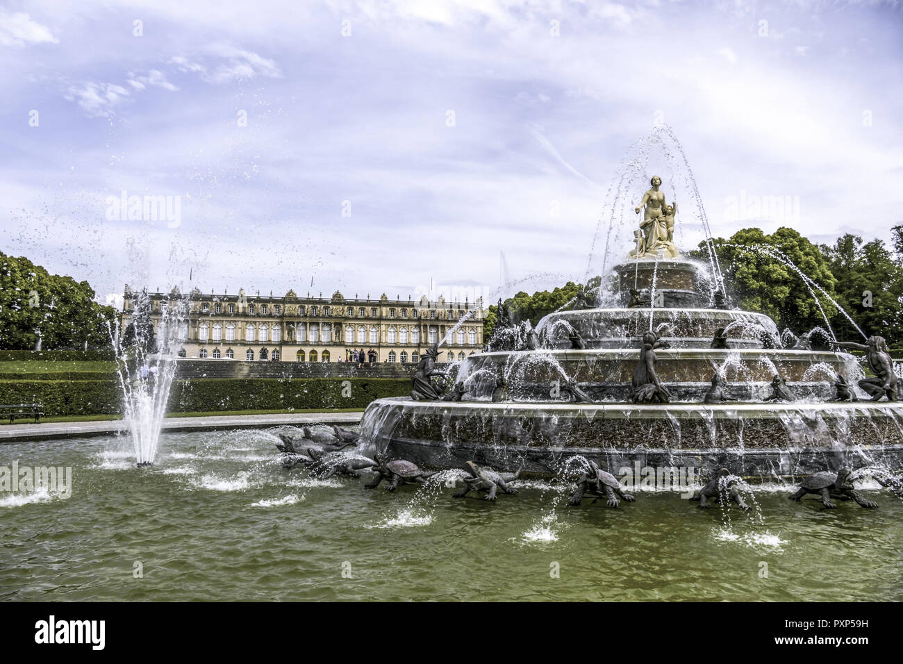 Latona Fountain, Herrenchiemsee Palace, Herreninsel, Gentleman s Island, Lake Chiemsee, Chiemgau, Upper Bavaria, Germany, Europe - Stock Image