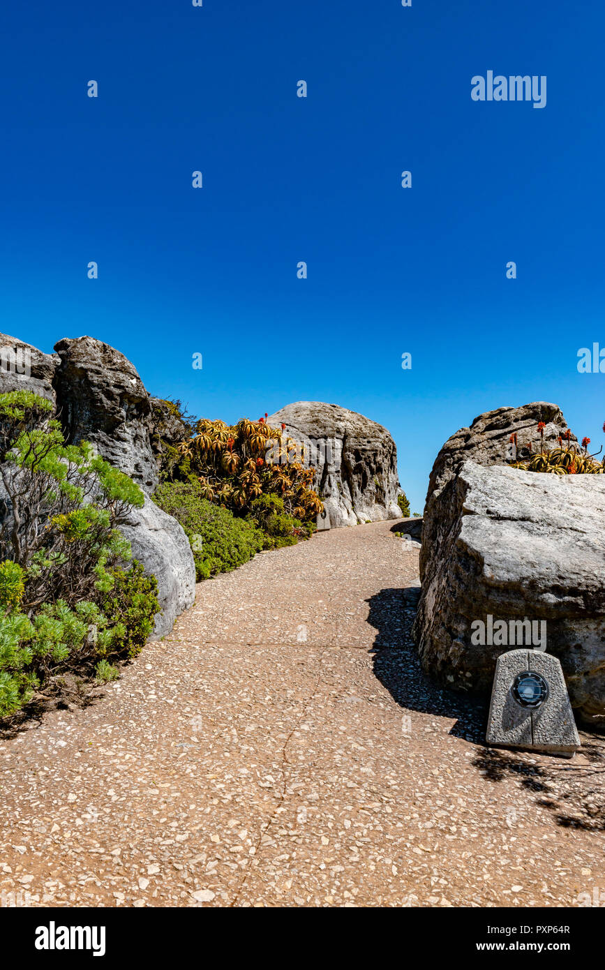 Footpath on top of Table Mountain, Cape Town, South Africa - Stock Image