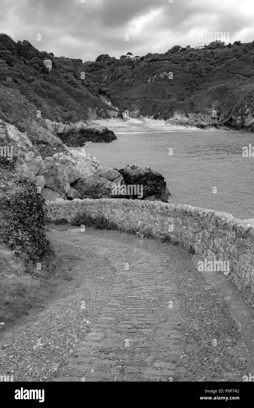 Black and white of saints bay at guernsey, Channel Island Stock Photo
