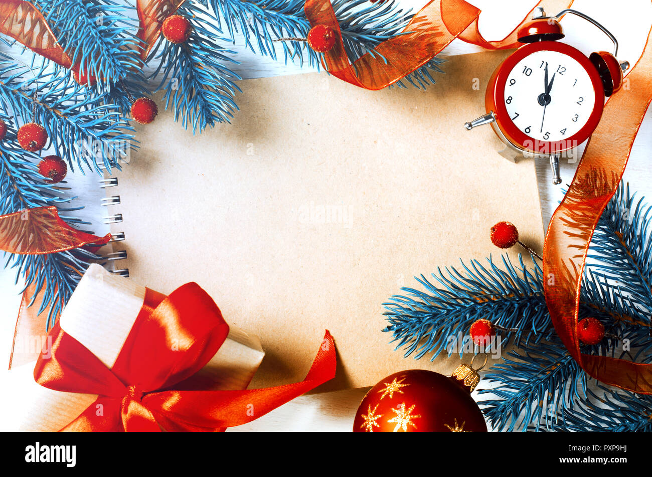 Vintage Christmas Background With Empty Notebook And Clock Frozen