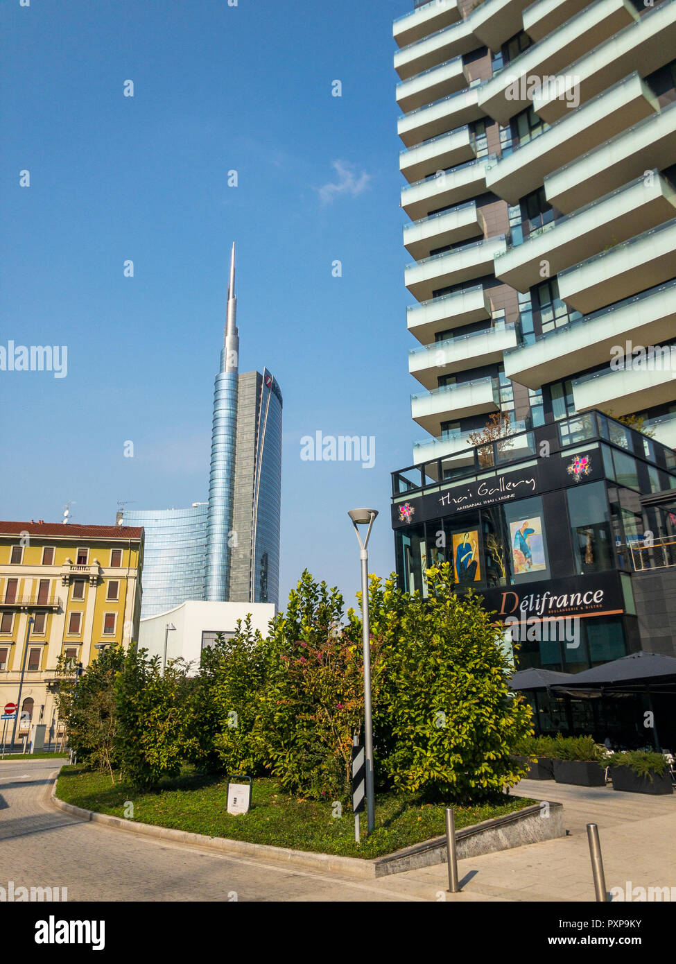 Unicredit Tower, seen from Via Amerigo Vespucci, Milan, Italy. The tallest skyscraper in Italy. View of the Unicredit Tower and the Solaria Tower Stock Photo