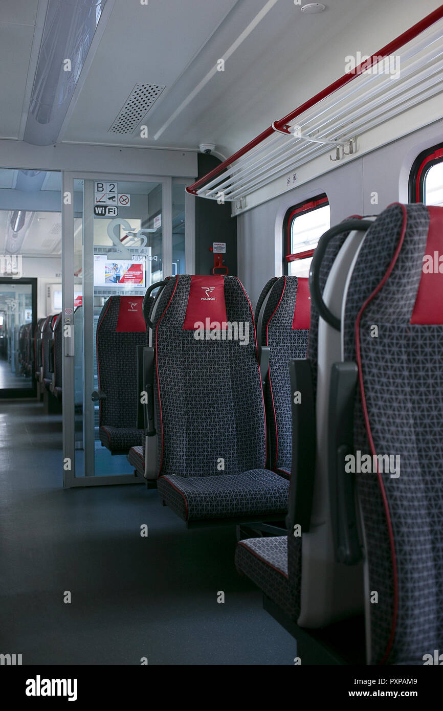 Late morning travel on empty train - Stock Image