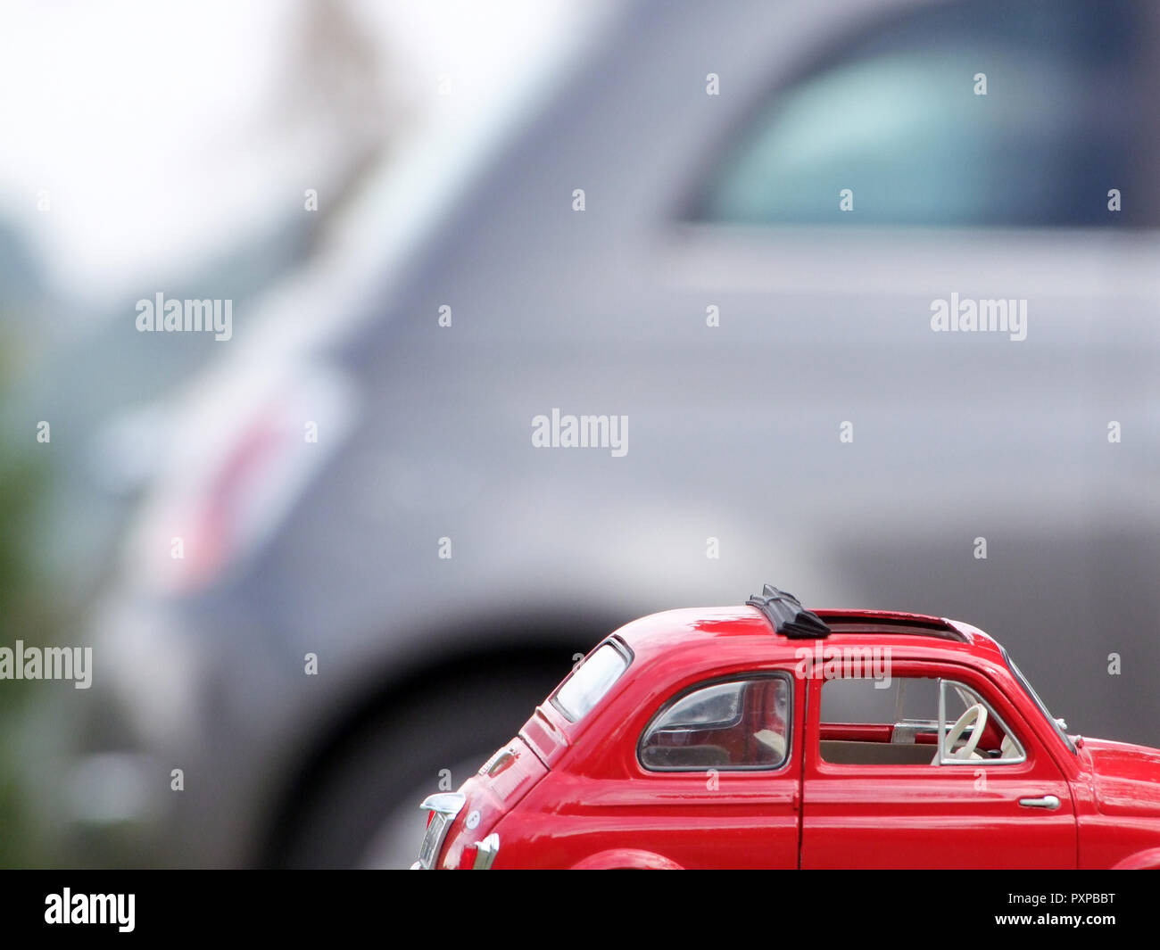 FIAT CINQUECENTO OLD versus FIAT CINQUECENTO NEW - Stock Image