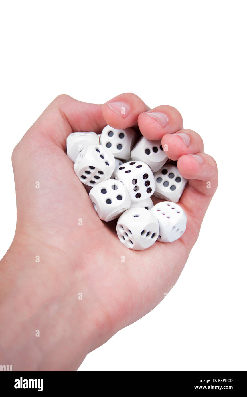 Hand full of white dices isolated on white Stock Photo
