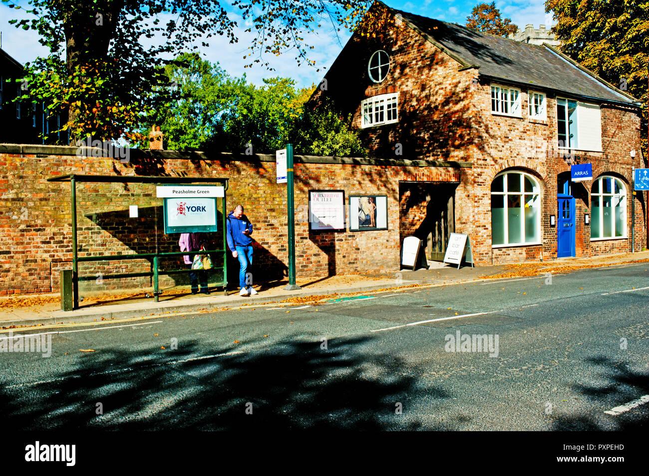 Bus stop, Peasholme Green, York, England - Stock Image
