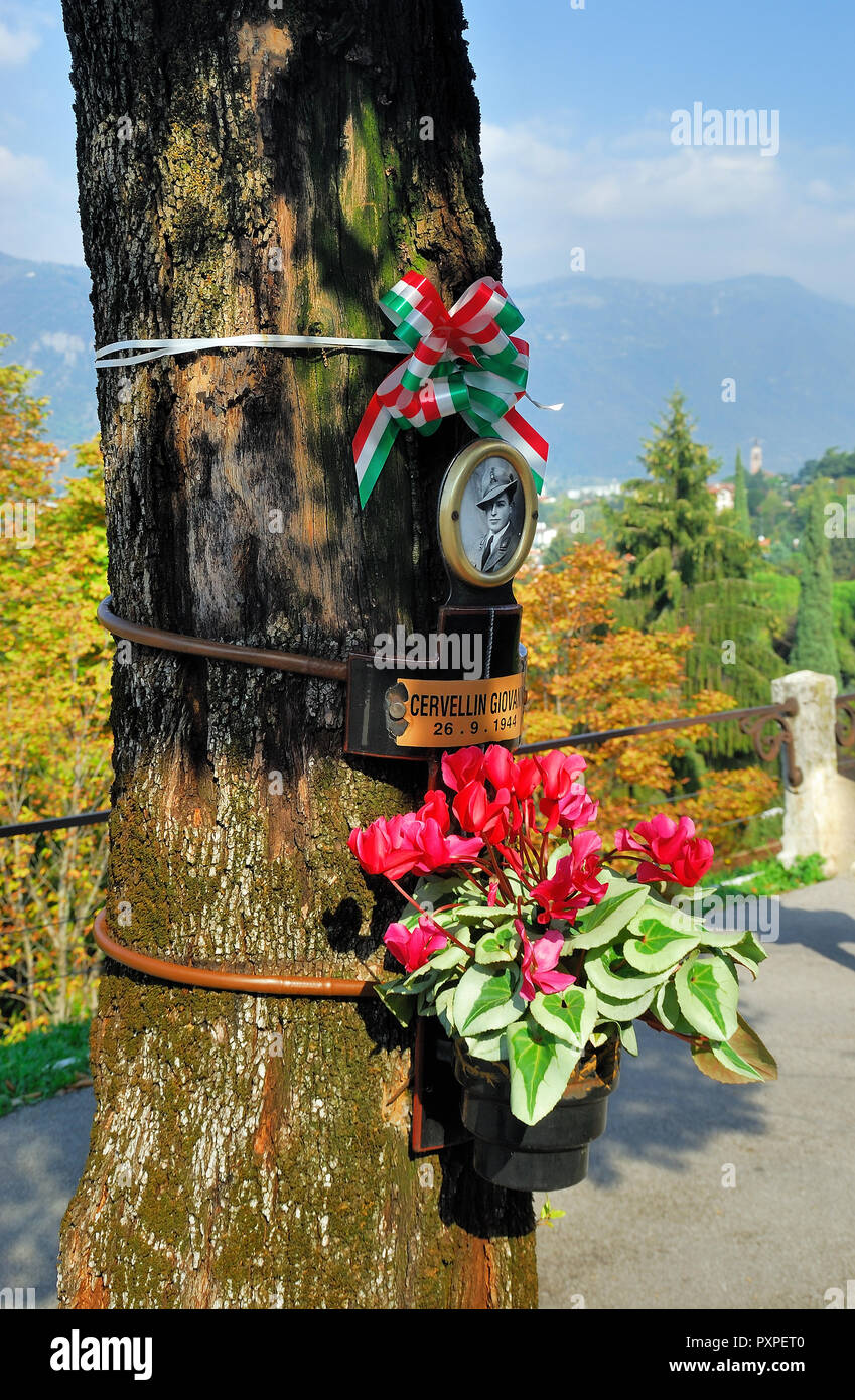 Bassano del Grappa,Veneto, italy. Commemoration of the 31 partisans hanged by the Nazis to the trees of today's Viale dei Martiri. Stock Photo