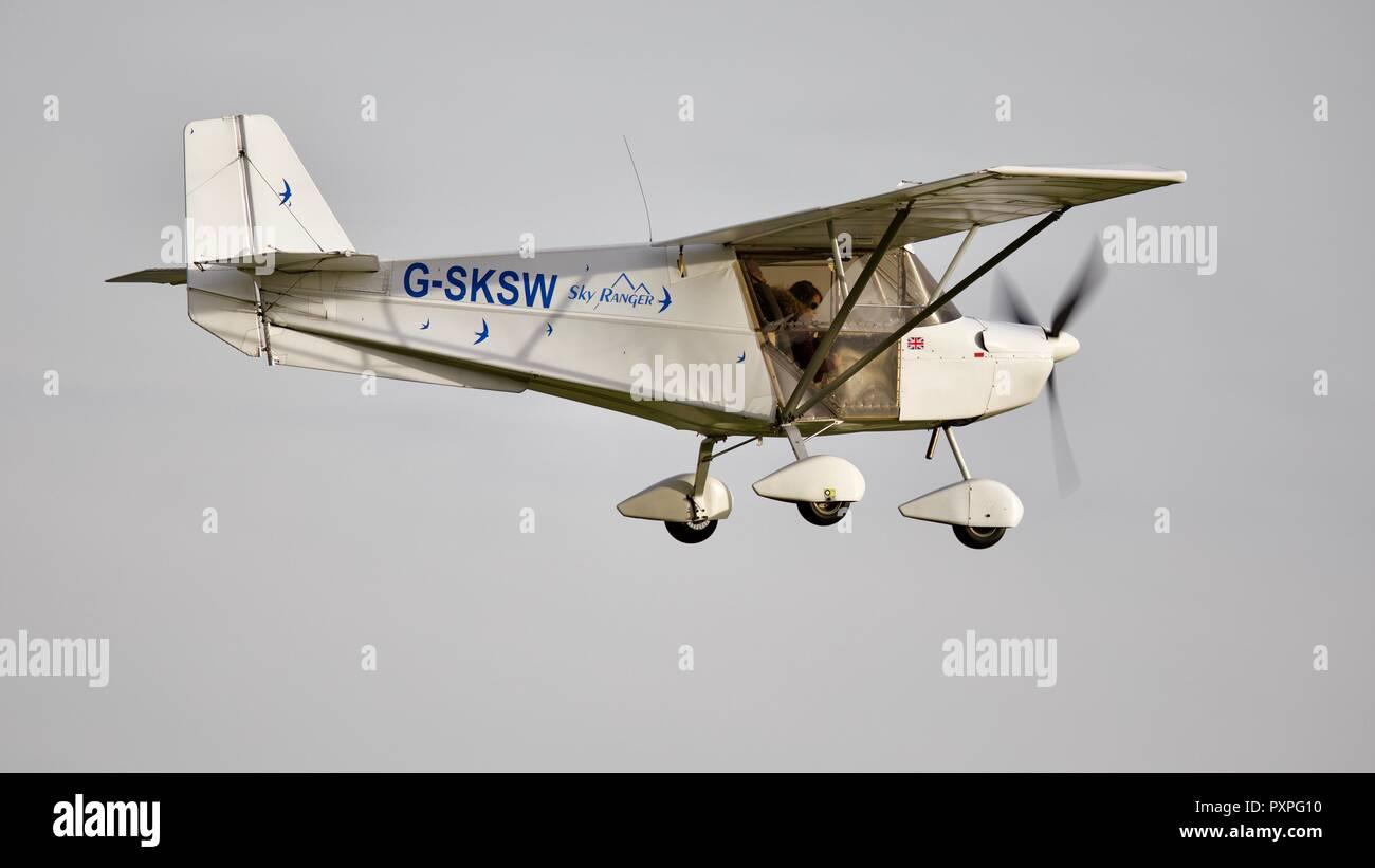 Skyranger Swift (G-SKSW) taking off from Old Warden Aerodrome - Stock Image