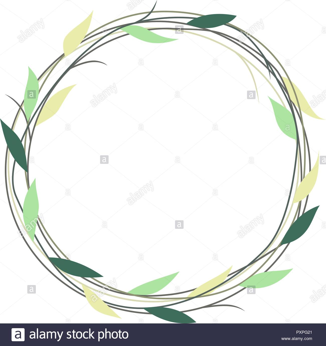 Simple wreath with green and yellow leaves, vector illustration Stock Vector