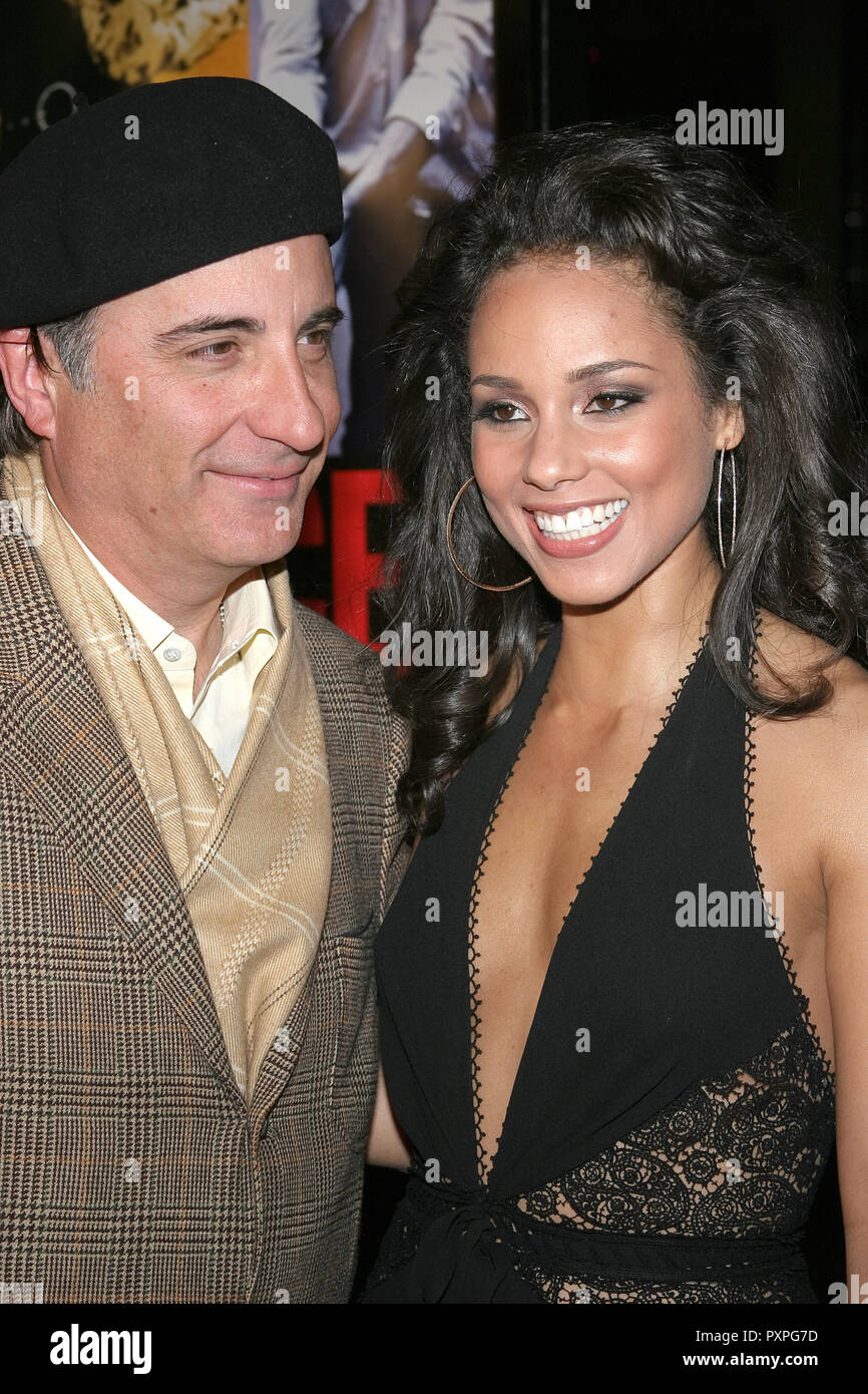 Andy Garcia, Alicia Keys  01/18/07 SMOKIN' ACES  @  Grauman's Chinese Theatre, Hollywood photo by Jun Matusda/HNW / PictureLux (January 18, 2007)   File Reference # 33687_044HNWPLX - Stock Image