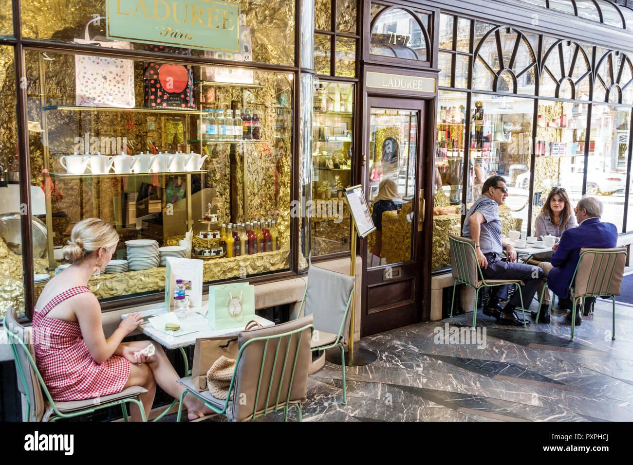 London England United Kingdom Great Britain Mayfair Burlington Arcade shopping upmarket luxury covered pedestrian arcade Laduree restaurant tea room F - Stock Image