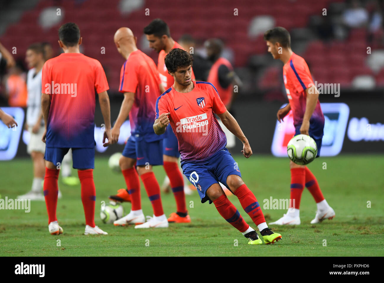 Kallang-Singapore-30Jul2018:Roberto olabe #30 player of Atletico madrid warm up during icc2018 between Atletico madrid against at paris saint-german a Stock Photo