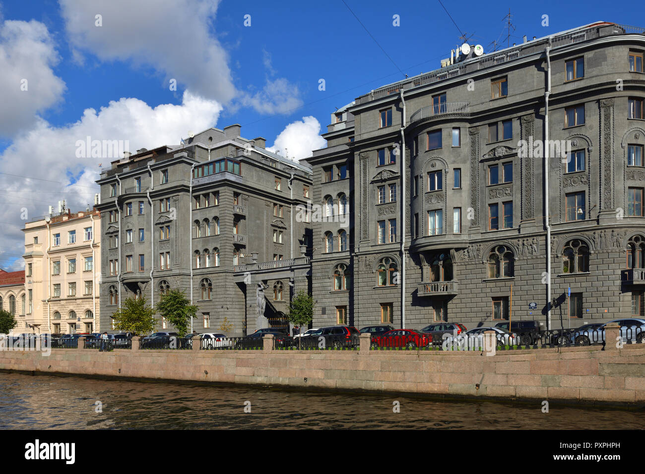 Profitable House Vege built by architect Ovsyannikov in early 20th c. Kryukov Canal Embankment - Stock Image