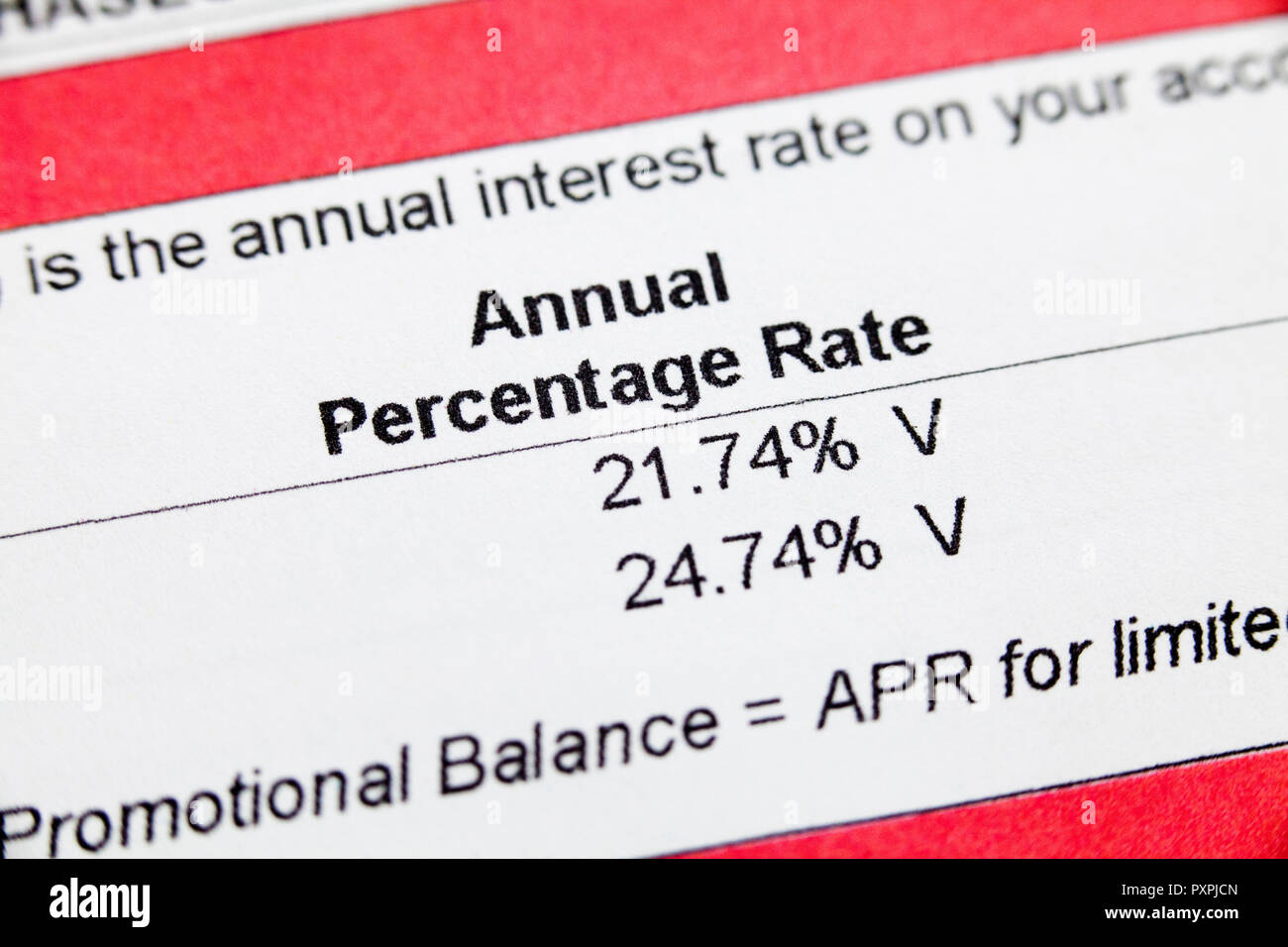 Credit card Interest rate (APR, credit card Annual Percentage Rate) information on monthly statement - USA - Stock Image