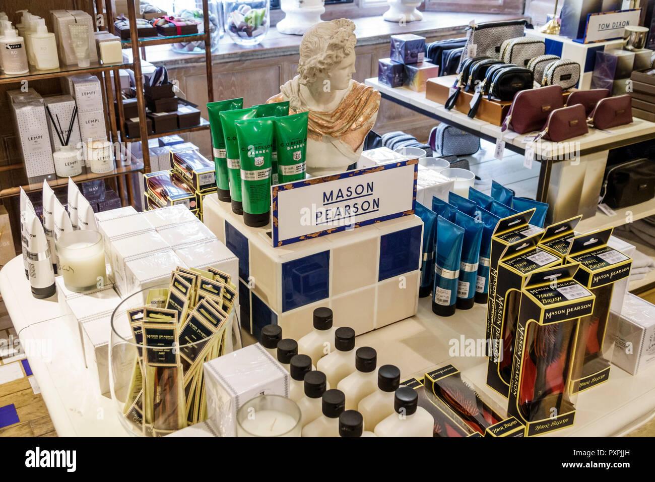 London England United Kingdom Great Britain Soho Liberty Department Store shopping luxury brands upmarket gifts personal care Mason Pearson hairbrushe - Stock Image
