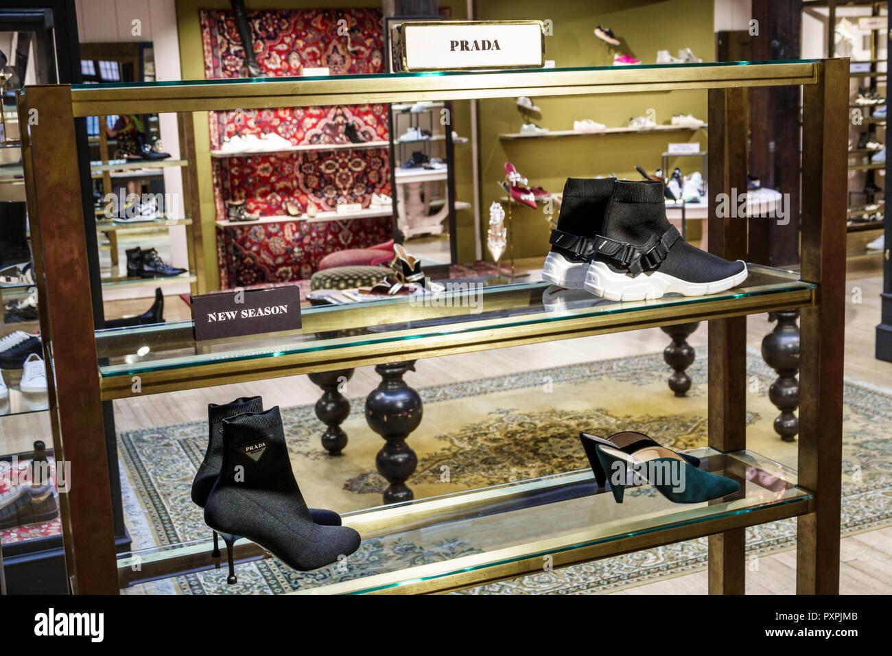 2af40c46f01 London England United Kingdom Great Britain Soho Liberty Department Store  shopping luxury brands upmarket women s shoes designer Prada display sale