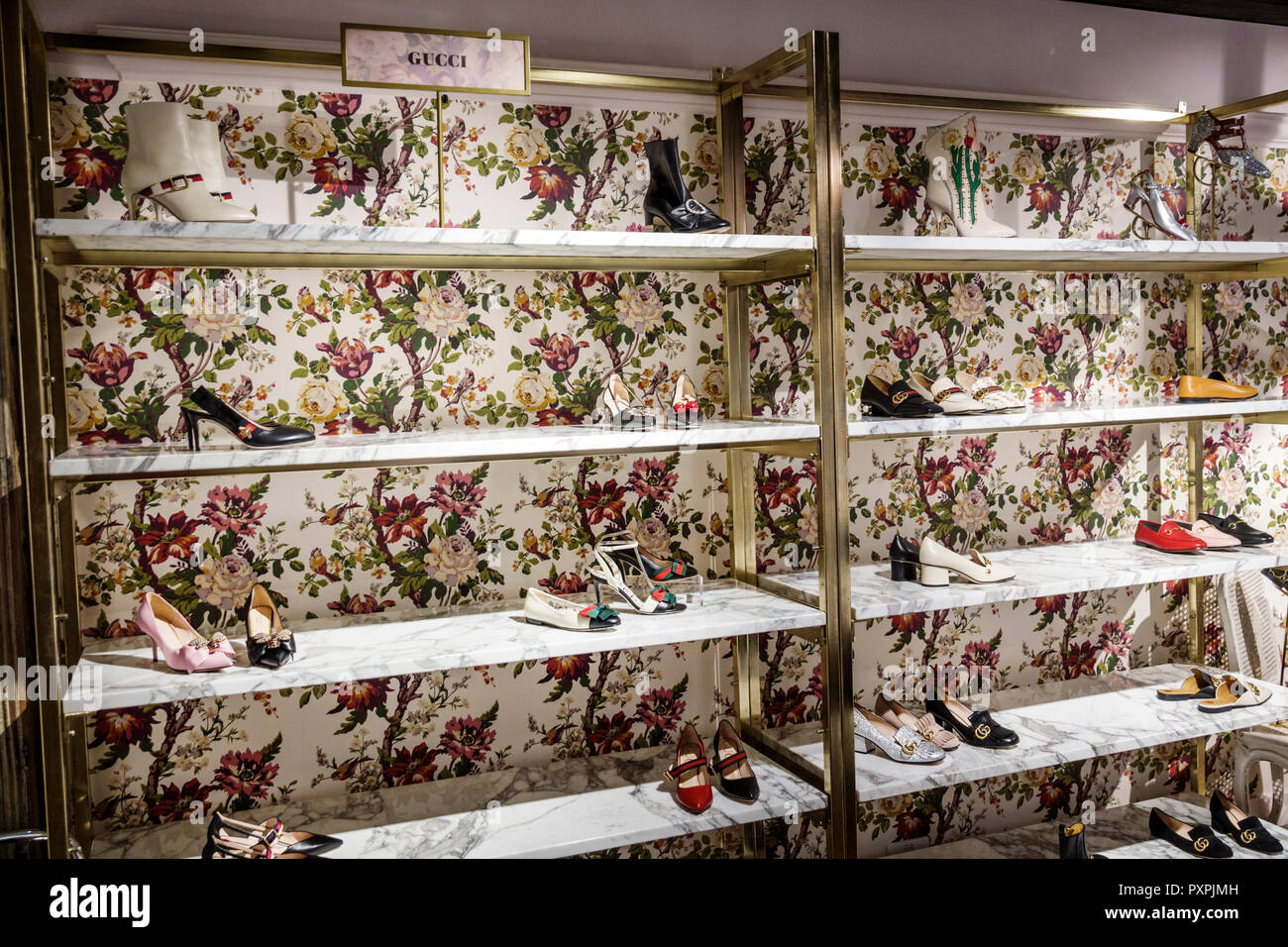 53a80ead7d5f London England United Kingdom Great Britain Soho Liberty Department Store  shopping luxury brands upmarket women s shoes designer Gucci display sale