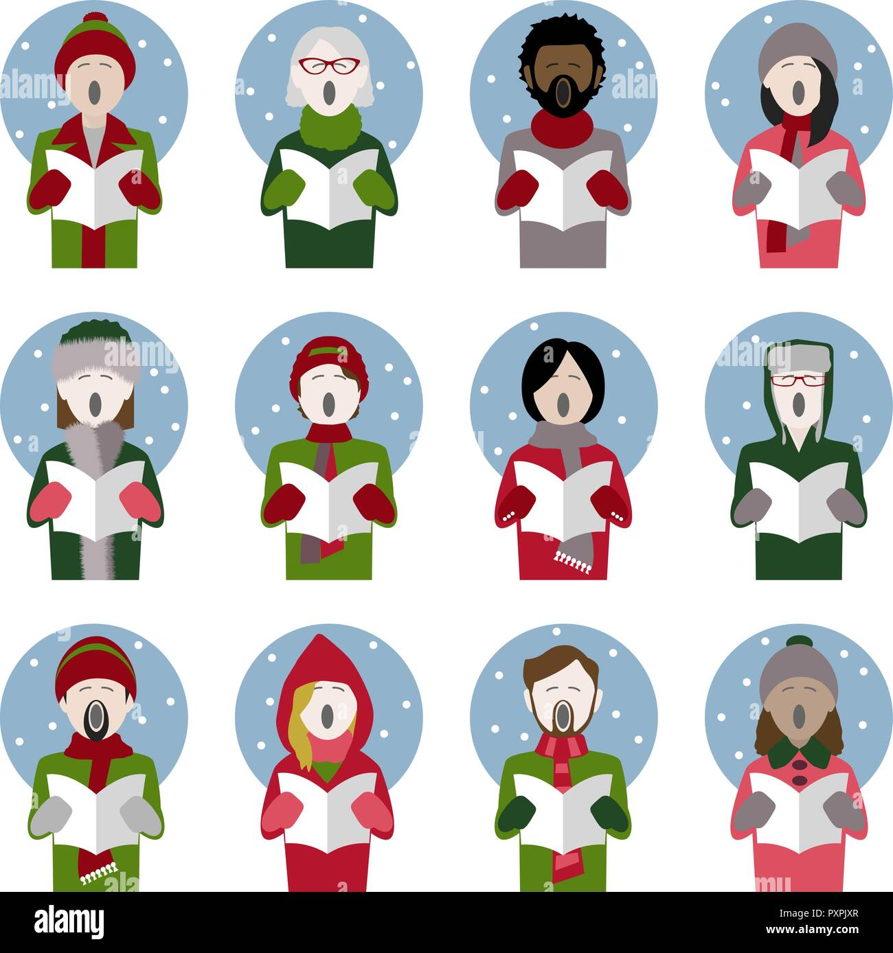 set of twelve icons of multiethnic adult Christmas carol singers singing in the snow - Stock Vector