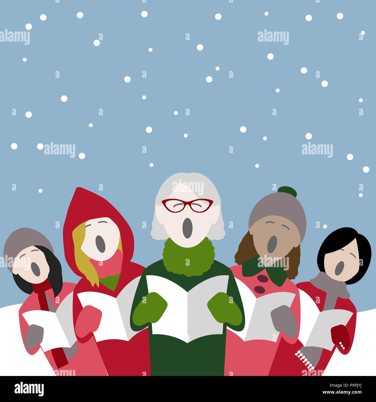 group of female singers singing Christmas carols in the snow - Stock Vector