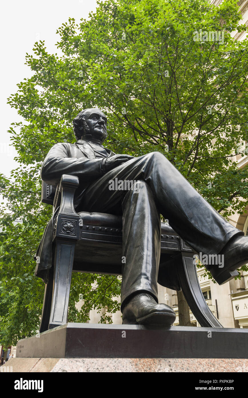 A statue of George Peabody, a 19th century American financier, banker, entrepreneur and philanthropist, near the Royal Exchange, London - Stock Image