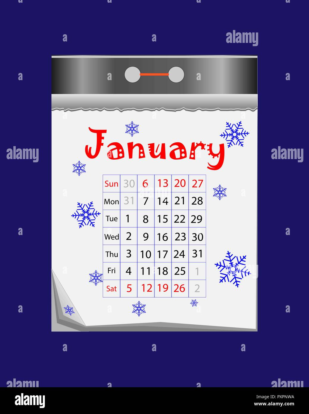 Happy New Year 2019. Tear-off calendar icon in flat style on blue background - Stock Image