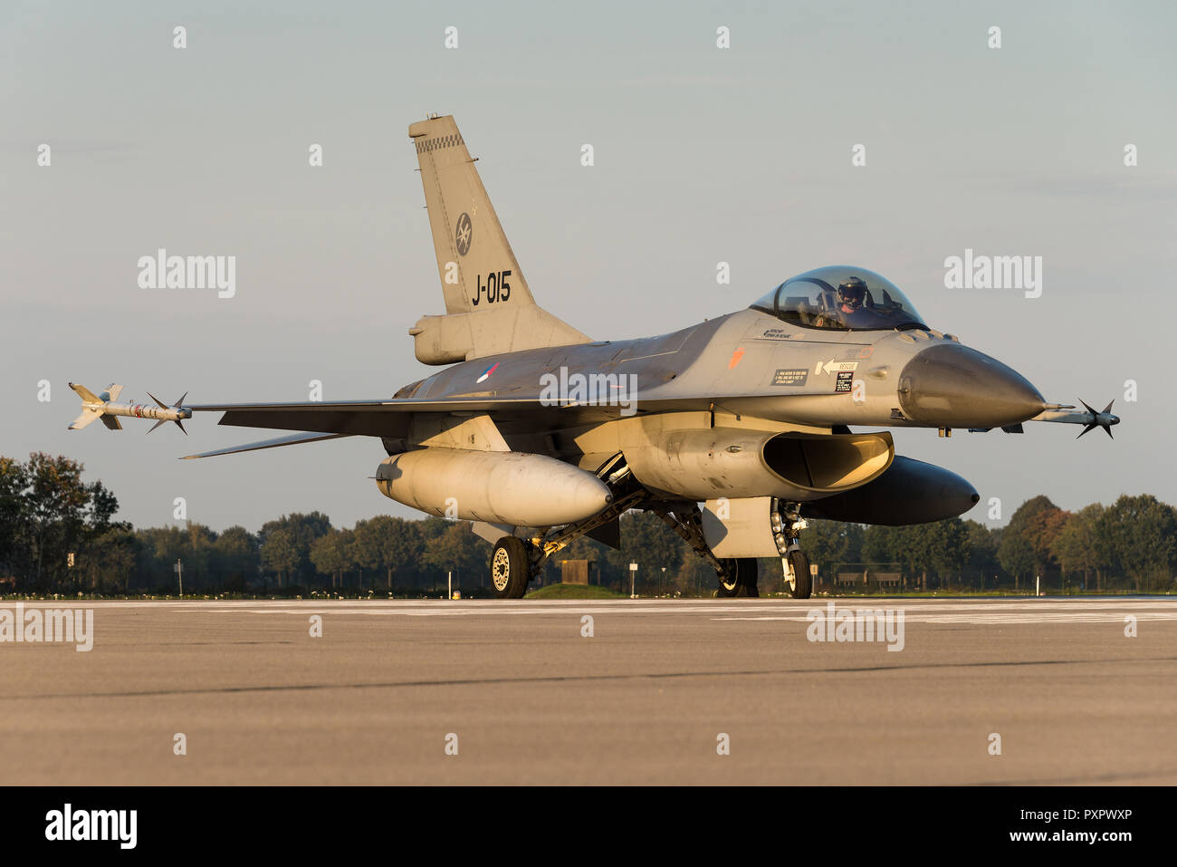 A General Dynamics F-16 Fighting Falcon fighter jet of the Royal Netherlands Air Force at the Volkel Air Base. - Stock Image