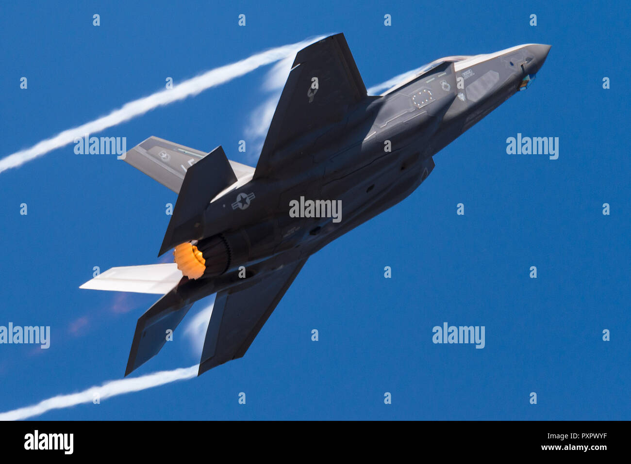 Impressive take off of a Lockheed Martin F-35 Lightning II fifth generation fighter jet of the Unites States Air Force (USAF). - Stock Image