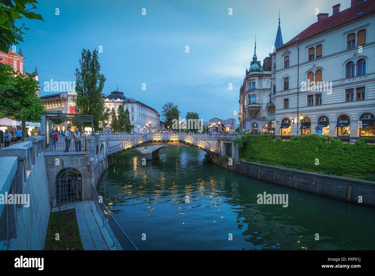 Ljubljana on evening - Stock Image