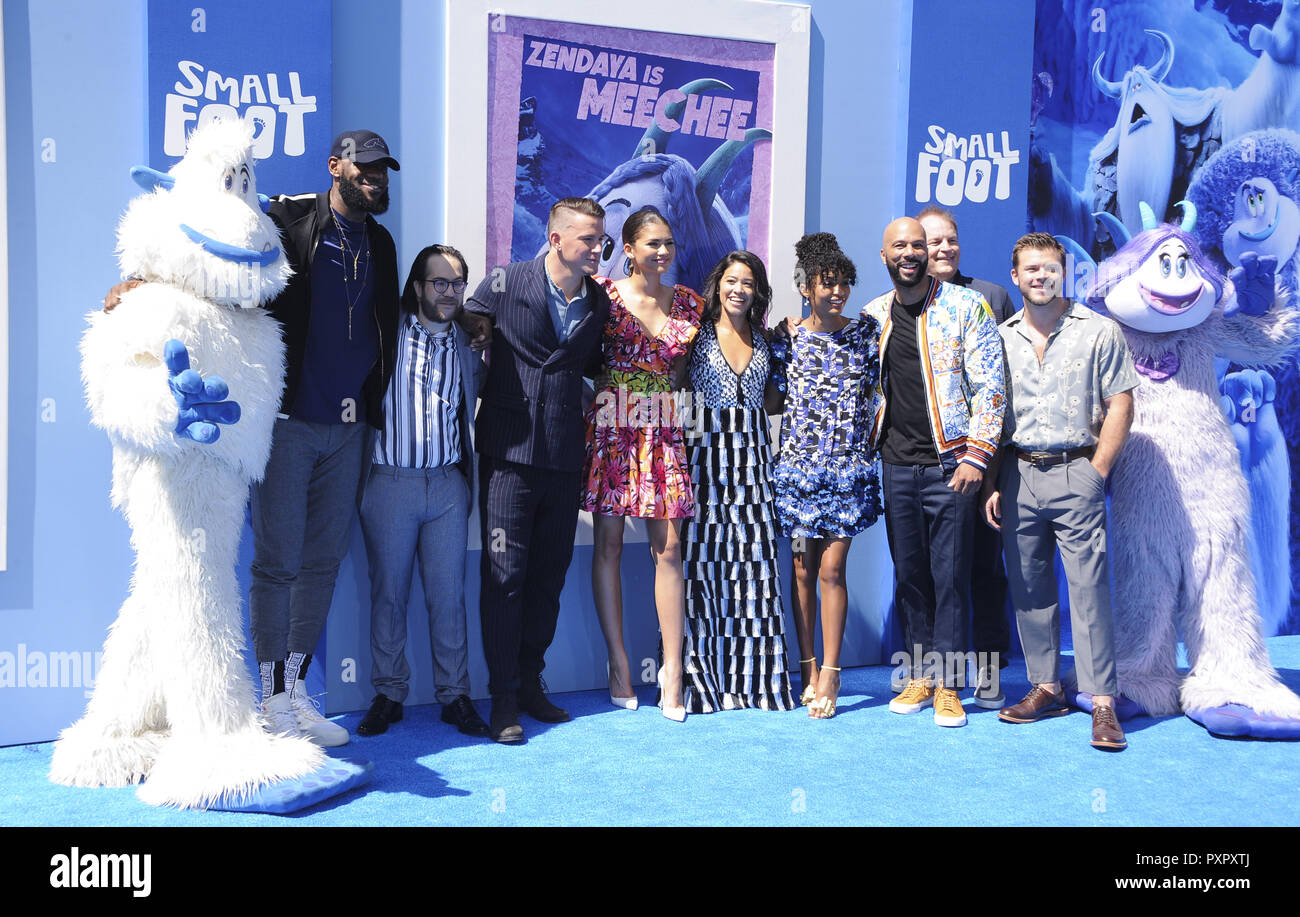 Los Angeles premiere of 'Smallfoot' - Arrivals  Featuring: Lebron James, Channing Tatum, Zendaya, Gina Rodrigez, Yara Shahidi, Common, Jimmy Tatro Where: Los Angeles, California, United States When: 22 Sep 2018 Credit: Apega/WENN.com - Stock Image