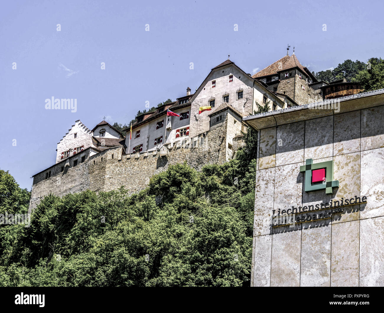 Bank building of Liechtensteinische Landesbank, Principality of Liechtenstein - Stock Image