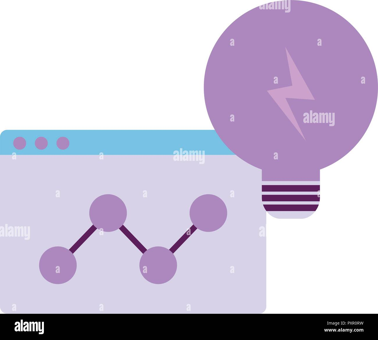 light bulb and web interface over white background, vector illustration - Stock Image