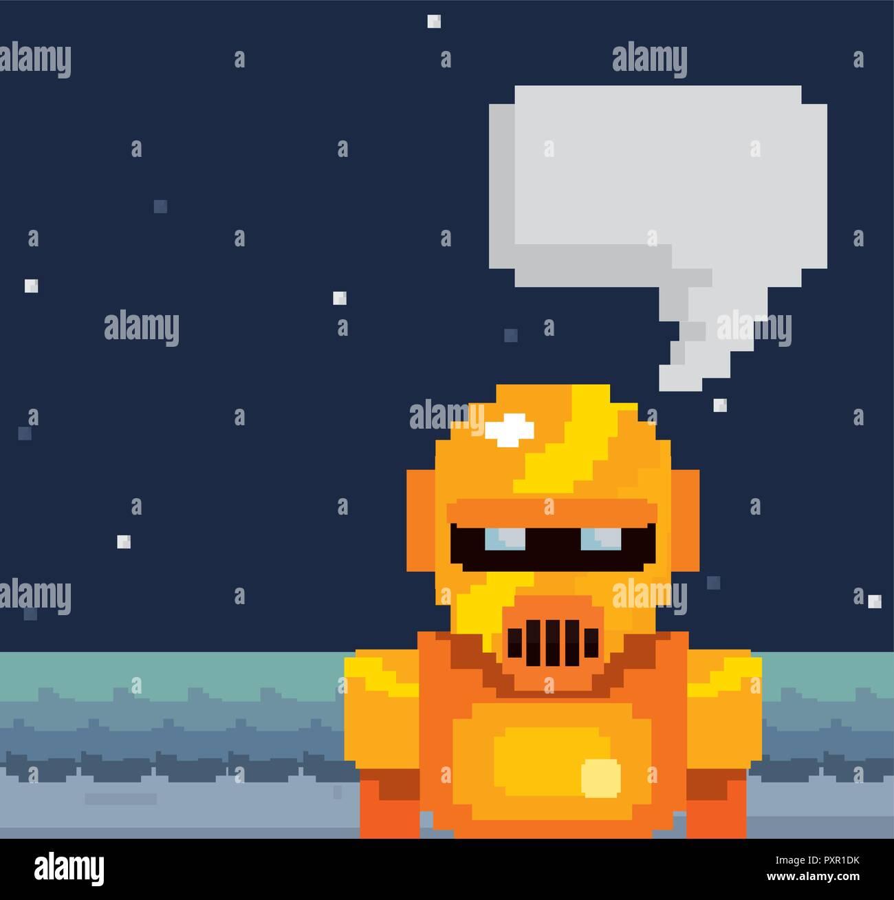 pixel video game robot speech bubble vector illustration  - Stock Image