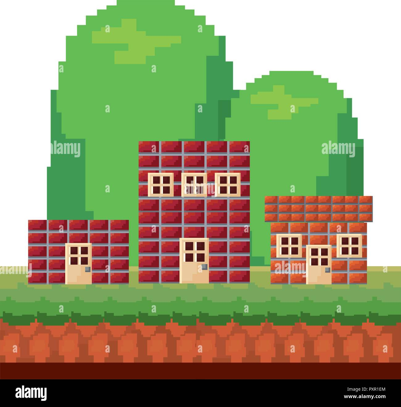 houses brick level video game vector illustration - Stock Vector