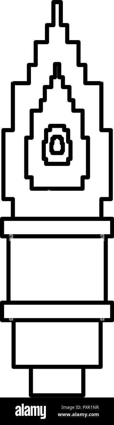 pixel video game torch flame vector illustration  - Stock Image